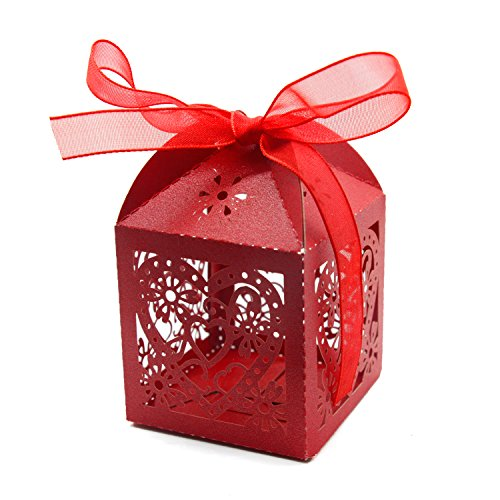 KEIVA 70 Pack Love Heart Laser Cut Wedding Party Favor Box C
