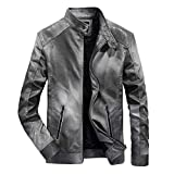 WOCACHI Final Clear Out Mens PU Leather Jackets Standing Collar Moto Bomber Windbreaker Coat Pullover Autumn Winter Long Sleeve Warm (Gray, XX-Large)