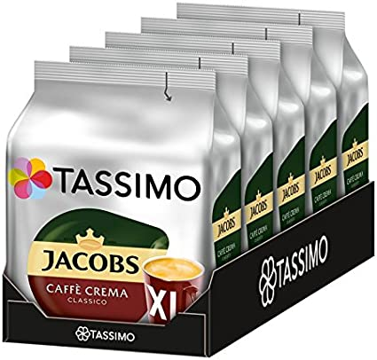80 Porciones Tassimo Jacobs Caff/è Crema Classico XL 5 Paquetes