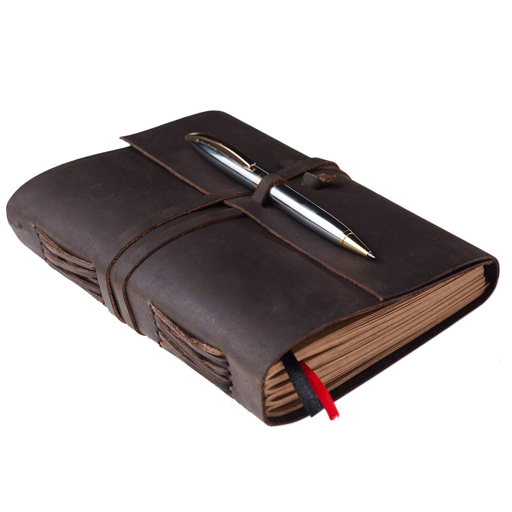 Leather Journal Lined Kraft Paper Leather Bound Journal Gift Set with Premium Pen Medium 8 x 6 Inch Handmade Vintage Writing Notebook Sketchbook for Men & Women 240 Pages, Travel Diary