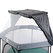 Full Coverage Canopy for Pack and Play Portable Playard – 1 UV Shade + 1 Mesh Layer for Protection from Summer Sun and Mosquitoes – Easy Click-to-Install Outdoor Infant Playpen Cover by BabySeater