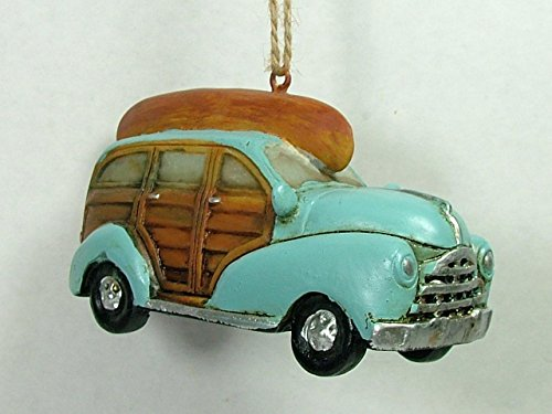 On Holiday Resin Vintage Style Station Wagon Teal Aqua Wood Colored Trim with Bown Canoe Christmas Tree Ornament