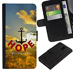 All Phone Most Case / Oferta Especial Cáscara Funda de cuero Monedero Cubierta de proteccion Caso / Wallet Case for Samsung Galaxy S5 Mini, SM-G800 // BIBLE Hope - Firm And Secure