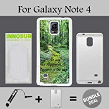 Buddha Quote Happiness Custom Galaxy Note 4 Cases-White-Plastic,Bundle 2in1 Comes with Custom Case/Universal Stylus Pen by innosub