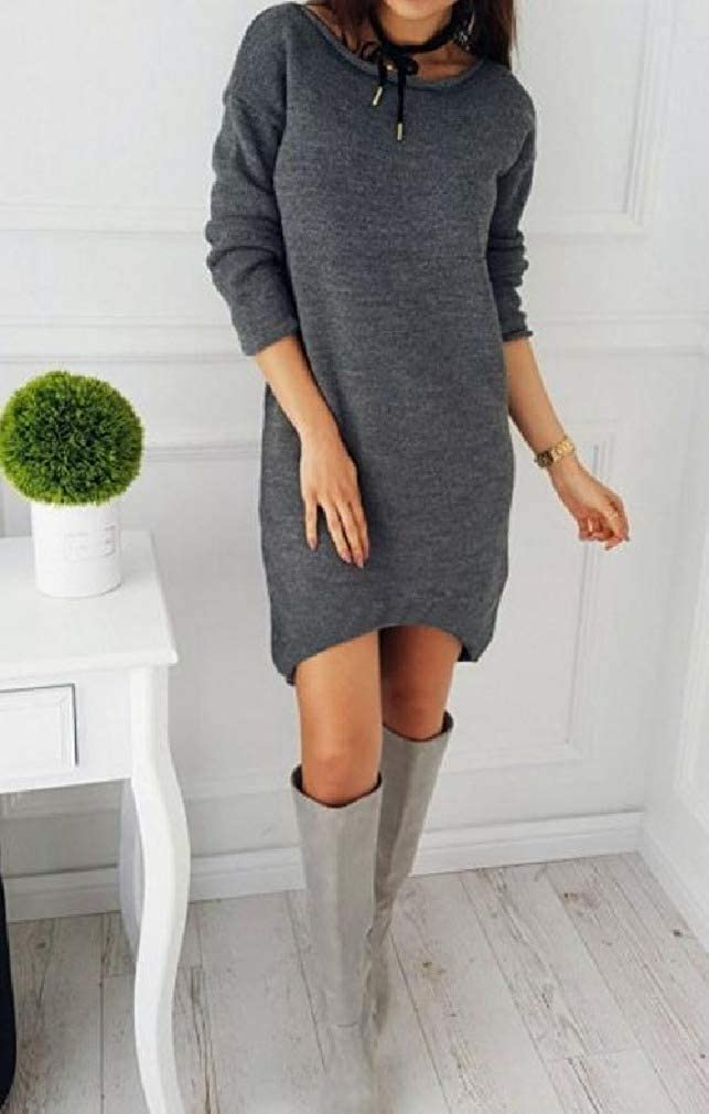 Tralounry Womens Sweaters Long-Sleeve Crew Neck Pullover Mid Dress Solid Shirt Top