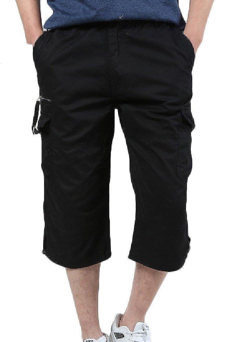 YUNY Men Outdoor Pocket Cotton 3//4 Summer Casual Cargo Carpi Pants XL Black