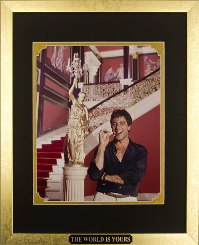 Scarface - Al Pacino as Tony Montana with Cigar. Framed Photo in the Custom Made Modern Scratched Gold Wood Frame (12.5 x 15.5)