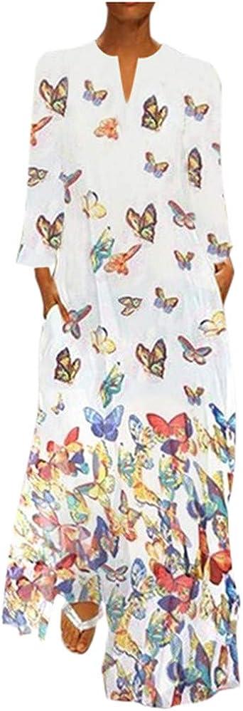 AmyGline sukienka damska, w stylu boho, sukienka maxi, z długim rękawem, okrągły dekolt, z nadrukiem motyla, w stylu vintage, długa sukienka na plażę, sukienka na bluzkę, sukienka na cz