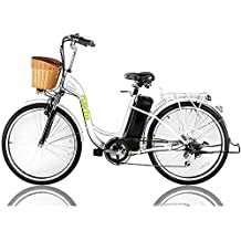 "NAKTO Electric Bicycle Sporting Shimano 6 Speed Gear EBike with Removable 36V10A Lithium Battery,Charger and Lock(20""/26"")"