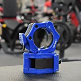 """Barbell Clamps 2 inch Olympic - Weight Collars Pair of 2"""" Inch Pro ABS Locking - Barbell Set of 2 Blue Clamps - Perfect for Pro Crossfit Strong Lifts and Olympic Training - Professional Quality"""