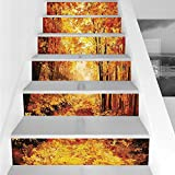 Stair Stickers Wall Stickers,6 PCS Self-adhesive,Country Decor,Pale Shaded Autumn in the Forest Pastoral Calm Simple Life Nature Paint Away Art Theme,Orange Brown,Stair Riser Decal for Living Room, Ha