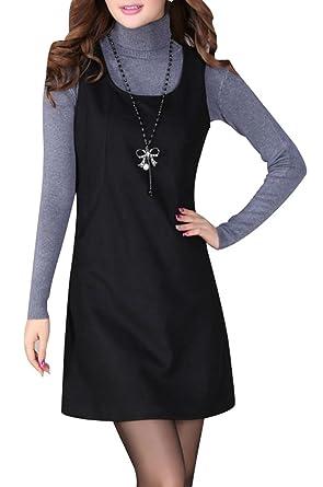 8b1485da549cc2 Yasong Women Sleeveless Faux Wool Plain Pinafore Dress Tunic Dress Shift  Dress Uniform Dress Black UK