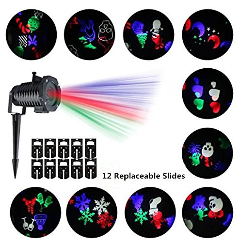 ACONDE Christmas Projector Light, Snowflakes Projector Lights, Waterproof,12 PCS Switchable Lens Rotating Projection Lights for Valentine's Day, Holiday,Wedding, Party,New Year