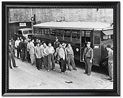 Black Wood Framed Print 8x10: Zoot Suiters Lined Up Outside Los Angeles Jail En Route To... - 8 Suiter