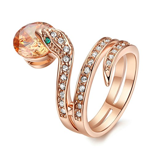 PSRINGS Snake Show Bead Ring Gold Plated Austrian Crystals 9.0