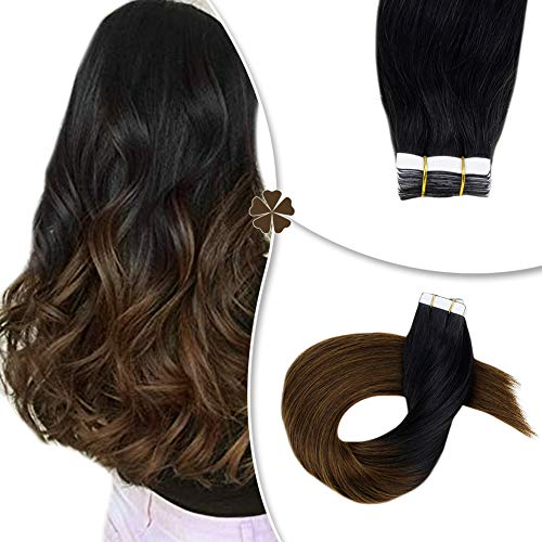 Hetto Tape in Hair Extensions Ombre Color Off Black #1B Dip Dye #6 Medium Brown 12Inch 20Pcs 40Gram Two Tone Color Tape on Hair for Women (Blue Dip Dye On Dark Brown Hair)