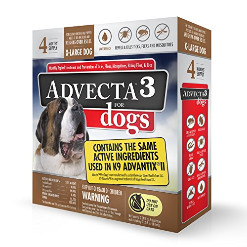 Advecta 3 Flea and Tick Topical Treatment Flea and Tick Control for Dogs XLarge over 50lbs 4 Month Supply