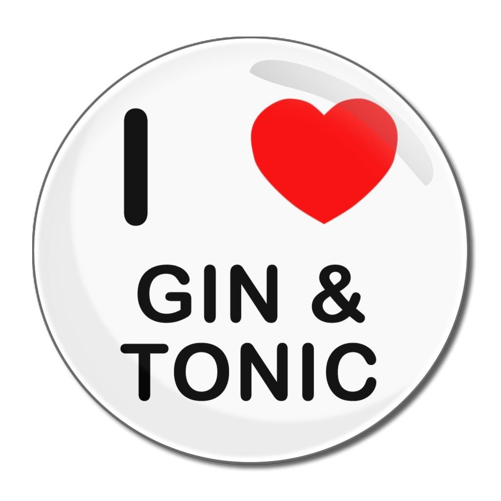 I Love Gin and Tonic - 55mm Round Compact Mirror BadgeBeast.co.uk 55mir-ginandtonic