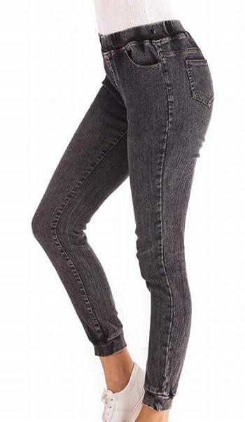 Loose Elastic Waist Jogging Jogger Denim Harem Pants Jeans
