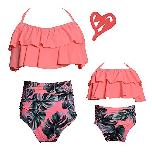 2Pcs Mommy and Me Matching Family Swimsuit Ruffle Women Swimwear Kids Toddler Bikini Bathing Suit Beachwear Sets (Orange-Floral, Women-S)