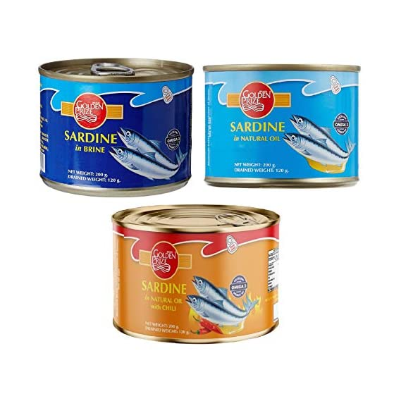 Golden Prize Combo - 1 x Sardine in Brine, Sardine in Natural Oil and Sardine in Natural Oil with Chili (3 x 200gms Each