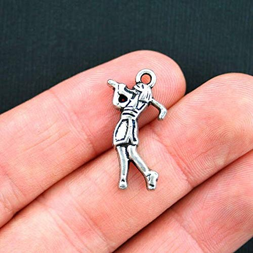 10 Golf Charms Antique Silver Tone Female Golfer Jewelry Making Supply, Pendant, Bracelet, DIY Crafting and Other by Wholesale Charms]()