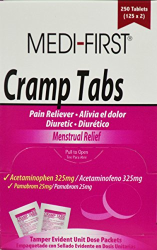 Cramp Tabs Menstrual Pain Relief Acetaminophen 1 Box (250 tablets) by - MS75580 by Medique