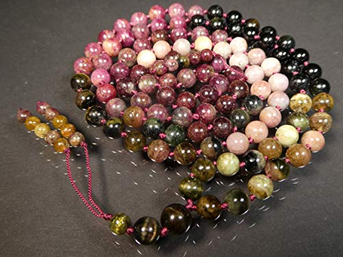 (Rainbow Tourmaline, Multi-Tourmaline Hand-Knotted Mala (108 and Guru), Necklace, Bracelet, Prayer Beads 7-mm Beads with a beaded tassel 1182)