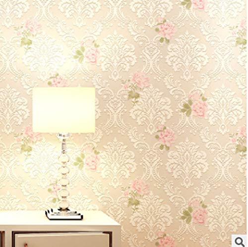 3D Embossed Floral Wallpaper for Livingroom Bedroom, Non-Woven 20.87inx32.8ft,Pink Beige 20.8inx32ft