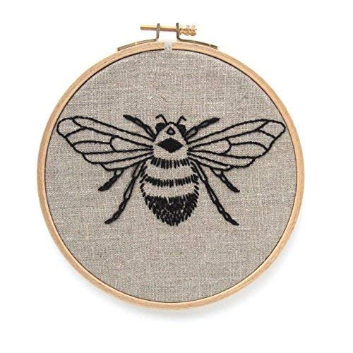Bee Embroidery Kit Natural