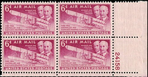 WRIGHT BROTHERS & THE FLYER ~ FIRST POWERED FLIGHT #C045 Plate Block of 4 x 6¢ US Air Mail Postage Stamps Wright Brothers First Powered Flight