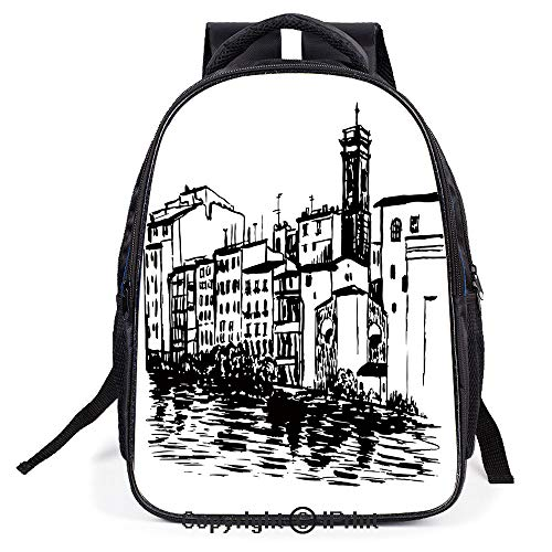 Double Strap Multipurpose Backpack,Venice City Sketch Style Hand Drawn Historical Buildings Tourist Town Picture,Polyester fiber,Large Capacity