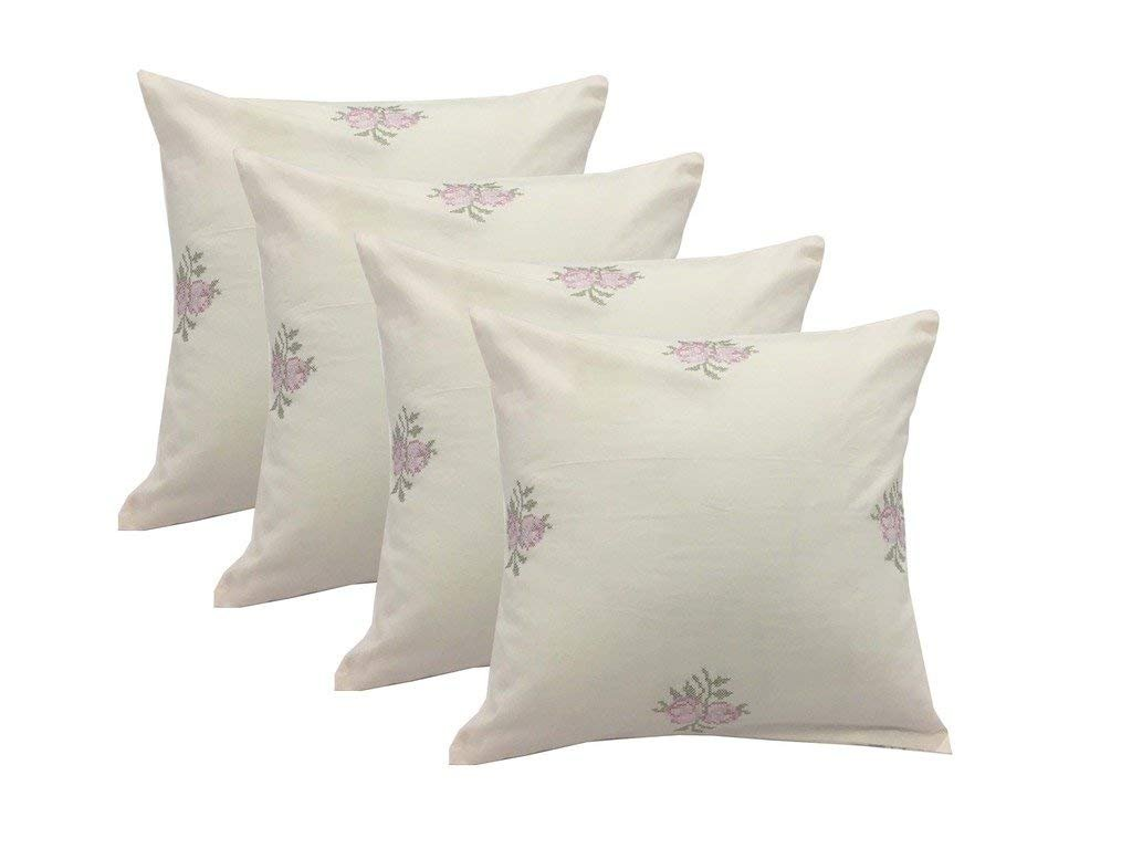 Milano Home 100/% Cotton Embroidered Decorative Throw Pillow Covers Set of 4 Cushion Covers Desert Rose 17 x 17 inch