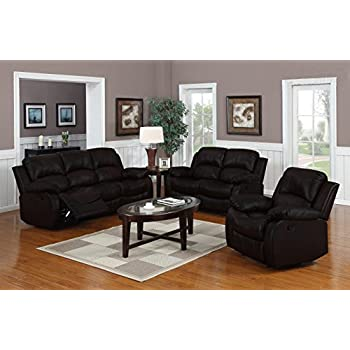Traditional Classic Reclining Sofa Set   Real Grain Leather   (Double  Recliner, Loveseat,