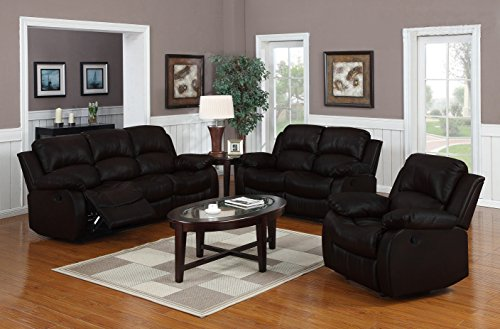 Divano Roma Furniture Traditional Classic Reclining Sofa Set - Real Grain Leather - (Double Recliner, Loveseat, Single Chair)