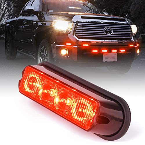 Xprite Red 4 LED 4 Watt Emergency Vehicle Waterproof Surface Mount Deck Dash Grille Strobe Light Warning Police Light Head with Clear Lens