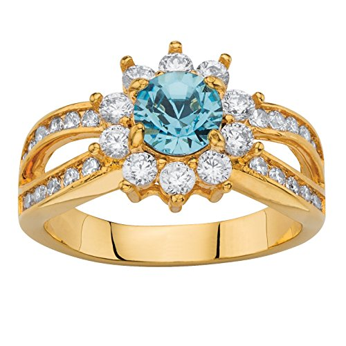 Palm Beach Jewelry Round Simulated Aquamarine Crystal and CZ 14k Gold-Plated Halo Cocktail Ring Size 7 -