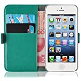 iPhone 5 Case, iPhone 5s Wallet, JAMMYLIZARD Luxury Edition Leather Premium Wallet Cover for iPhone 5 / 5s and iPhone SE, Turquoise