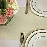 TRLYC 12 x 120 Inch Ivory Sparkly Sequin Table