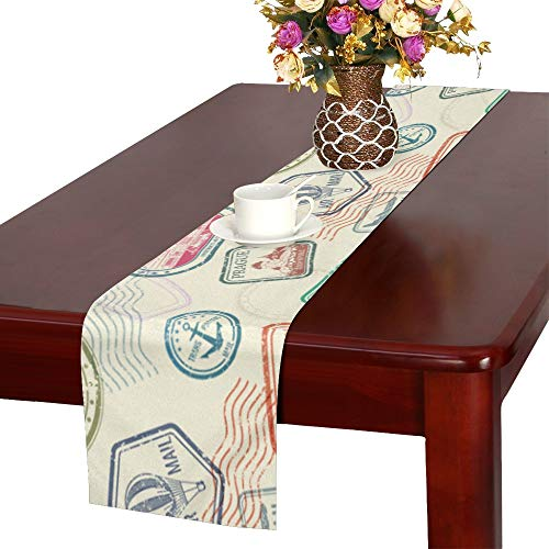 (WHIOFE Postmark Retro Miss Letter Box Mail Stamp Imprint Travel Table Runner, Kitchen Dining Table Runner 16 X 72 Inch for Dinner Parties, Events, Decor )