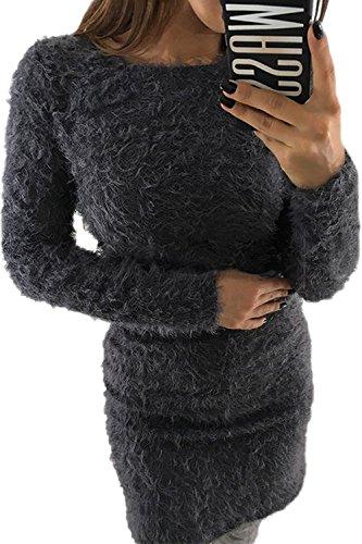 Mohair gris Imitacion De Vestido Mini Mujer Elegante Lápiz La Invierno Pullover Parte 8P4wvA6qx
