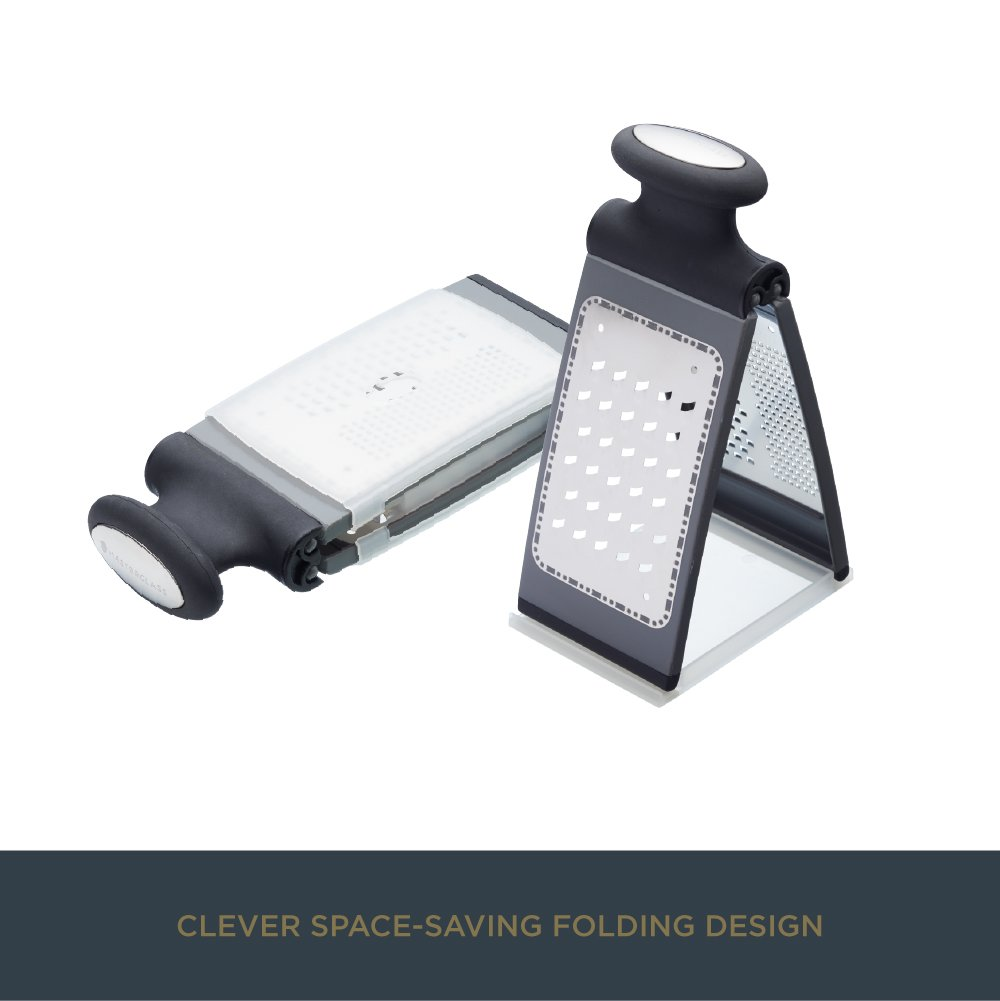 Black MasterClass Smart Space 3-Way Fold-Flat Stainless Steel Cheese Grater