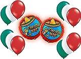 Patriotic Mexican Cinco de Mayo Mylar/Foil and Latex Balloons Bouquet (14 Pcs)