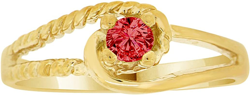 14K Yellow Gold Plated Ring with Red Cubic Zirconia Charm and Pendant