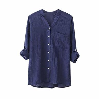 Damen Langarm Bluse Oberteile Taste V-neck Slim Frauen Hemd Freizeit Tops Shirt