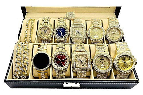 Bling King Set of 10 Rapper Collection Hip Hip Iced Out Gold Mens Watch with Necklace and Ring - GS10NR from Charles Raymond