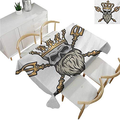 familytaste King,Fitted tablecloths,Ruler Skull Head with Gray Beard Crossed Royal Scepter Cartoon Seemed Image,Tablecloths for Sale 60