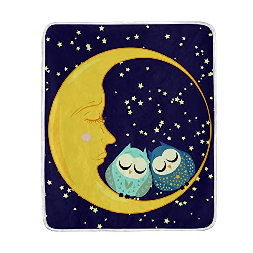 (Moon Owl Couple Stars Night Sky Soft Warm Throw Blankets Lightweight Velvet Short Plush Microfiber Blanket for Bed Couch Chair Sofa Travelling Camping 50'' x 60'')
