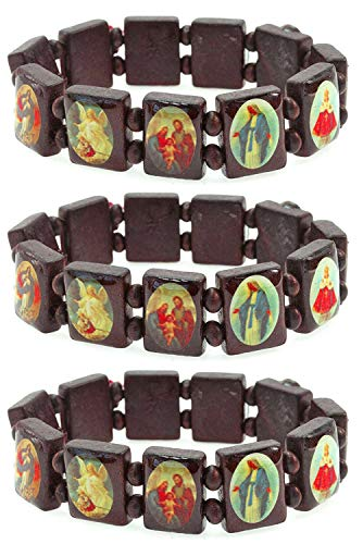 LUOS 3pc Wood Bracelet Saints Icon Religious jewelry stretch - Religious Wooden Bracelet