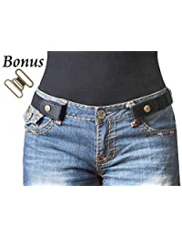 No Buckle Stretch Belt For Women Elastic Waist Belt for Jeans Pants Dresses, Suit for Pants Size 24-36 Inches, A-Black-Bronze Color Snap
